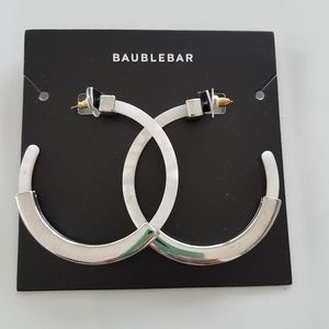 BaubleBar Tassiana Hoop Earrings in Silver